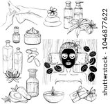 set of spa icons. sketch black... | Shutterstock . vector #1046877622