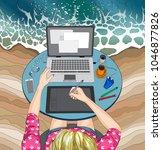 illustration of woman working...   Shutterstock . vector #1046877826