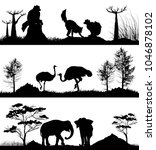 set of wild animals. ring... | Shutterstock . vector #1046878102