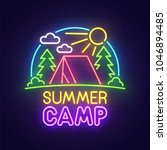 summer camp neon sign  bright... | Shutterstock .eps vector #1046894485