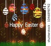 vector card with eggs. happy... | Shutterstock .eps vector #1046898742