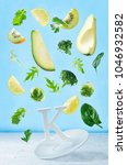 flying foods rich in vitamin k. ... | Shutterstock . vector #1046932582