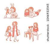 set of scenes of mother and... | Shutterstock .eps vector #1046933545