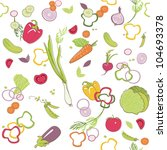 seamless vegetable pattern | Shutterstock .eps vector #104693378