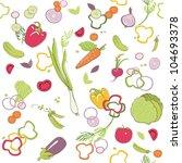 seamless vegetable pattern | Shutterstock .eps vector #104693378