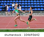 Small photo of YALTA, UKRAINE, MAY 29: (L-R) Antonina Efremova and Olishevska Yulia compete at the relay race on Ukrainian Cup in Athletics, on May 29, 2012 in Yalta, Ukraine