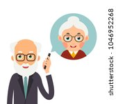grandfather with phone. elderly ... | Shutterstock .eps vector #1046952268