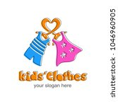 kids clothes logo. sign for... | Shutterstock .eps vector #1046960905
