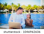 woman distracting from the work ...   Shutterstock . vector #1046962636