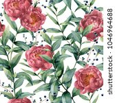 watercolor pattern with... | Shutterstock . vector #1046964688