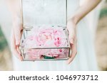 bride holding glass casket with ... | Shutterstock . vector #1046973712