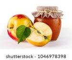 glass jar of homemade apple jam ... | Shutterstock . vector #1046978398