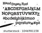 hand drawn font. scribble... | Shutterstock .eps vector #1046981158