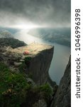 A perfect camping spot on the famous Pulpit Rock in southern Norway. - stock photo