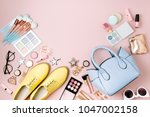 flat lay of female fashion... | Shutterstock . vector #1047002158