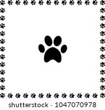 black animal pawprint icon... | Shutterstock . vector #1047070978