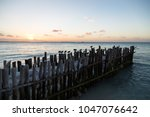 small pier with birds at sunset ...   Shutterstock . vector #1047076642