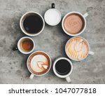 aerial view of various coffee   Shutterstock . vector #1047077818