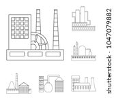 factory and facilities outline...   Shutterstock .eps vector #1047079882
