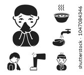 the sick man black icons in set ... | Shutterstock .eps vector #1047084346