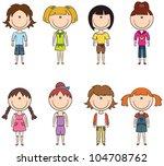 cute trendy girls isolated on... | Shutterstock .eps vector #104708762