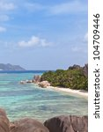 Wonderful beach of Seychelles, Africa, Anse Source d'Argent, La Digue - stock photo