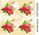 seamless floral pattern rose... | Shutterstock .eps vector #1047103246