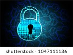 safety concept  closed padlock... | Shutterstock .eps vector #1047111136