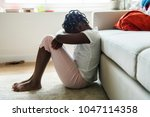 black girl with sadness emotion   Shutterstock . vector #1047114358