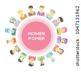 group of women for woman power  ... | Shutterstock .eps vector #1047131962