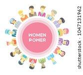 group of women for woman power  ... | Shutterstock .eps vector #1047131962
