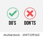 do and dont check tick mark and ... | Shutterstock .eps vector #1047139162