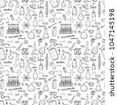 seamless pattern with cute hand ... | Shutterstock .eps vector #1047145198
