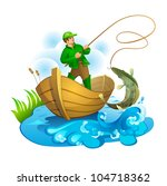 fisherman in a boat pulling a... | Shutterstock .eps vector #104718362