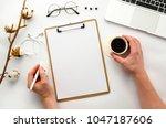 home office workspace mockup...   Shutterstock . vector #1047187606