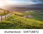 stunning landscape at sunset... | Shutterstock . vector #104718872