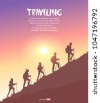 silhouette traveling people.... | Shutterstock .eps vector #1047196792