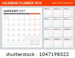 calendar planner for 2019 year. ... | Shutterstock .eps vector #1047198322