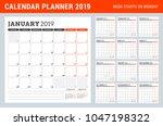 calendar planner for 2019 year. ... | Shutterstock .eps vector #1047198322