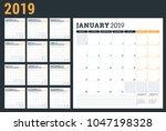 calendar planner for 2019 year. ... | Shutterstock .eps vector #1047198328