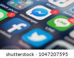 Small photo of PHUKET, THAILAND - MAR 16, 2018: iphone home screen of social media app icon, messenger, facebook, line and twitter, macro shot