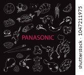set of vector food elements.... | Shutterstock .eps vector #1047211975