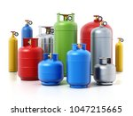 multi colored gas cylinders... | Shutterstock . vector #1047215665