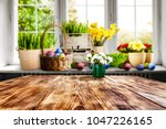 easter table background with... | Shutterstock . vector #1047226165