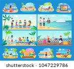freelancers work all around...   Shutterstock .eps vector #1047229786