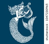 Mermaid Playing Harp Ink Tatto...
