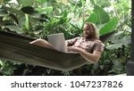 man working on laptop while...   Shutterstock . vector #1047237826