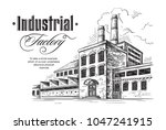 industrial distillery factory.... | Shutterstock .eps vector #1047241915