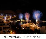 the famous fireworks at funchal ... | Shutterstock . vector #1047244612
