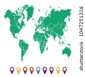 world map. set of color pointers | Shutterstock .eps vector #1047251326